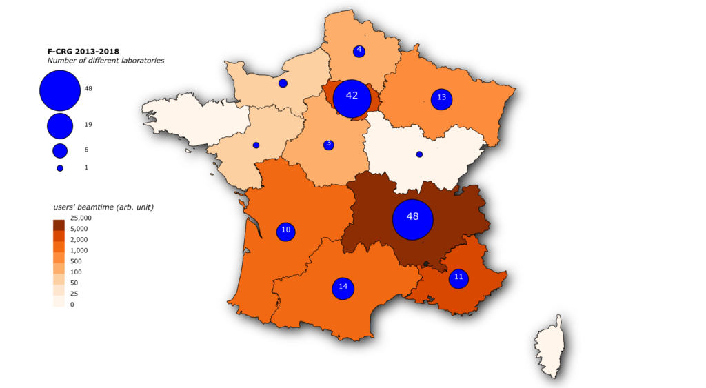 French regions of origin of the French CRG beamline users