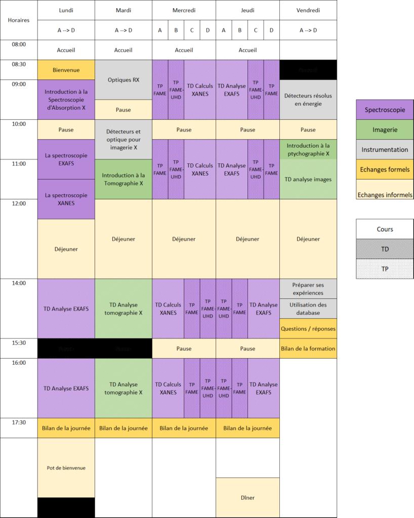 Planning prévisionnel ASTER'X